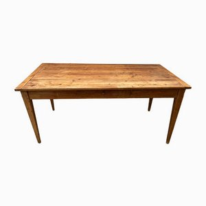 Farmhouse Dining Table in Solid Wood with 1 Drawer, 1930s