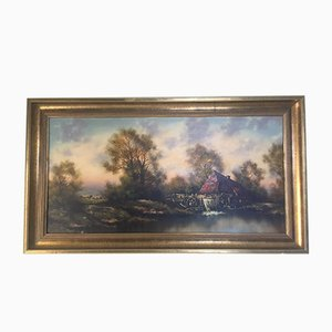Oil Painting on Canvas- Landscape With a Water Mill Signed 1950s