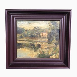 Antique Oil Painting on Plywood Board