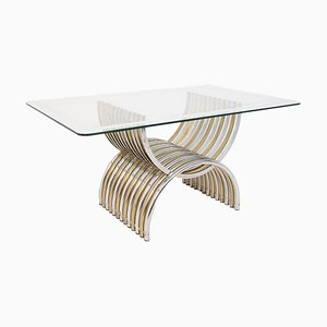 Dining Table in Chromed and Brassed Steel with Glass