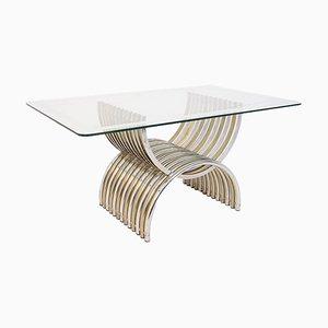 Esstisch aus verchromtem und vermessingtem Stahl mit Glas