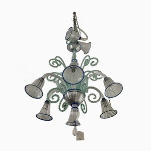 Chandelier in Murano Glass with Blue Decoration