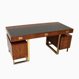 Vintage Rosewood & Brass Partners Desk, Set of 3