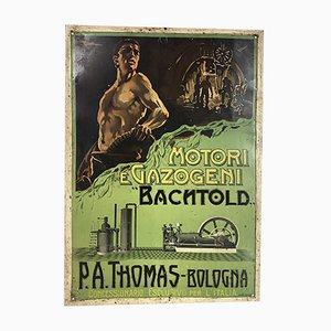 Italian Tin Advertising Sign from Bachtold Engines