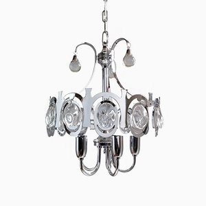 Chrome Metal and Crystal Chandelier Attributed to Gaetano Sciolari, 1960s