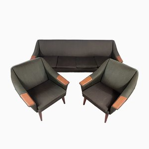 Mid-Century Norwegian Lounge Set with Sofa Bed by P. I. Langlo, Scandinavia, 1960s, Set of 3