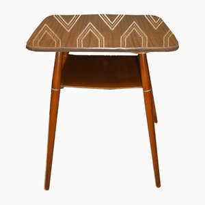 Rectangular Teak Effect Rotatable Cocktail Table in Formica with Storage, 1960s