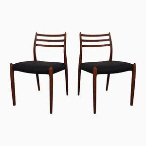 Teak Model 78 Dining Chairs by Niels Otto Møller for JL Møller, 1960s, Set of 2