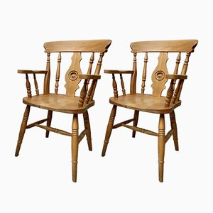 Country Style Wooden Dining Chairs, Set of 2