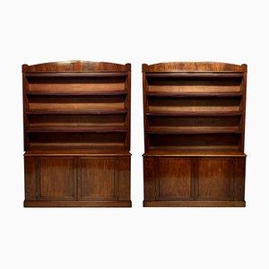 Large English Mahogany Bookcases, Set of 2