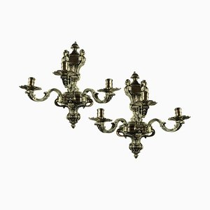 Antique English Silver-Plated Bronze Sconces, Set of 2