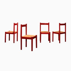 Vintage Red Carimate Dining Chairs by Vico Magistretti for Cassina, 1970s, Set of 4