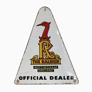 Triangle Enamel The Raleigh Bicycles Sign by Langcat Bussum, 1960s