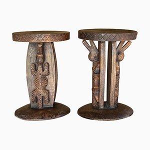 Vintage Stools in Wood with Carved Details, Set of 2