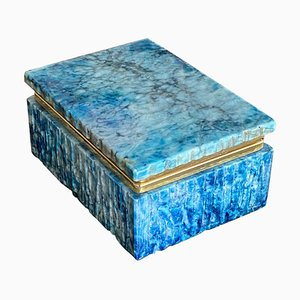 Alabaster and Brass Blue Box, Italy, 1950s