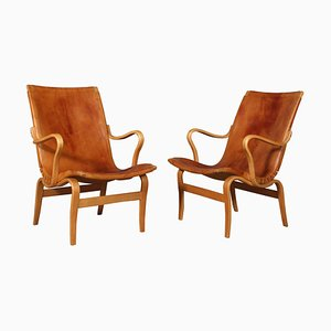 Eva Lounge Chairs with Leather by Bruno Mathsson, Set of 2