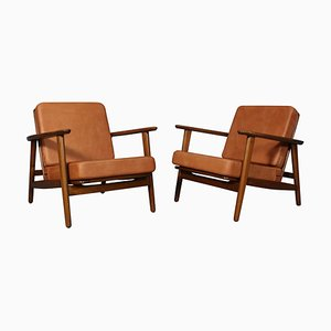 Model 233 Lounge Chairs in Cognac Aniline Leather by Hans J. Wegner for Getama, Set of 2