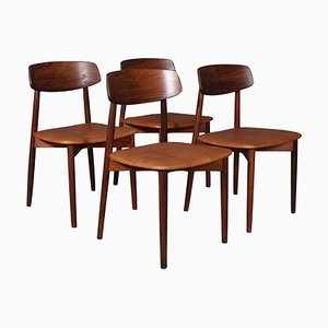 Chairs in Rosewood and Tan Aniline Leather by Harry Østergaard for Randers Møbelfabrik, 1970s, Set of 4