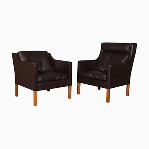 Model 2431 + 2421 Lounge Chairs in Brown Leather by Børge Mogensen for Fredericia, Set of 2