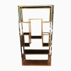 Large Metal Shelf in Chrome and Gold, 1970s