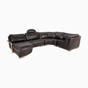 Black Leather Sofa by Artanova Medea