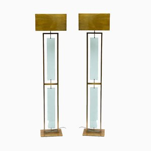 Fontana Arte Style Brass and Clear Glass Floor Lamps, Set of 2