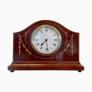Antique Inlaid Mahogany Eight Day Desktop Clock by R Stewart of Glasgow