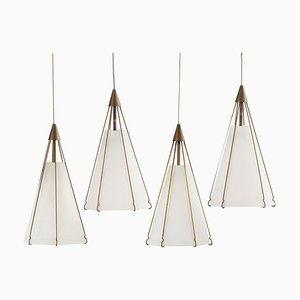 Pendants in Opaline Glass and Brass by Bent Karlby for Lyfa, 1950s, Set of 4