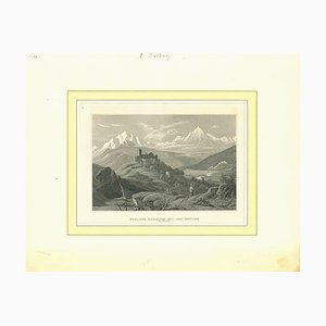 Unknown, Ancient View of Schloss Kurburg, Original Lithograph, Mid-19th Century
