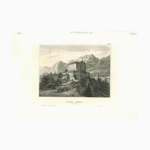 Unknown, Ancient View of Schloss Ambras, Original Lithograph, Mid-19th Century