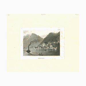 Unknown, Ancient View of Hallstadt, Original Lithograph, Mid-19th Century