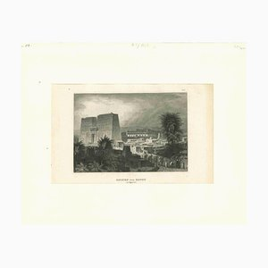 Unknown, Ancient View of the Ruins of Edfou, Original Lithograph,Mid-19th Century by Aeg