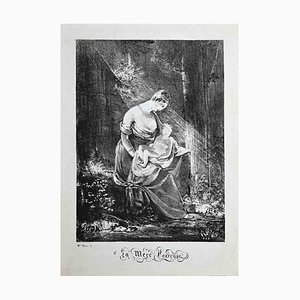 Teacher of Fragonard, Original Lithograph after-m.lle Maye, 1800s