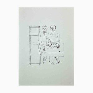 Franco Gentilini, The Man With the Woman, Original Offset Print, 1970