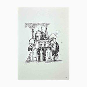 Franco Gentilini, The Big Church, Original Offset Print, 1970s