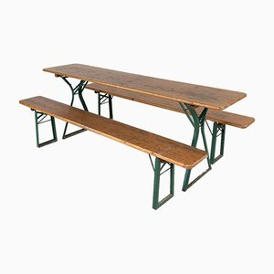 Vintage German Beer Table and Benches, Set of 3