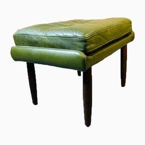 Vintage Danish Olive Green Lounge Chair & Footstool, Set of 2