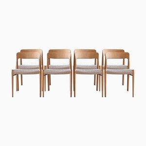 Model 75 Dining Chair in Oak by Niels Otto Møller for J.L. Møllers, Set of 8