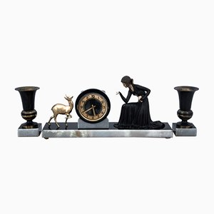 Art Deco Mantel Clock with 2 Vases, Germany, 1920s, Set of 3