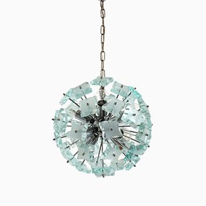 Mid-Century Cut Glass Sputnik Chandelier from Zeroquattro, Italy, 1960s