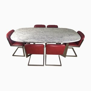 Marble Table and 6 Chairs, Set of 7