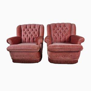 Salmon Velvet Armchairs, Set of 2