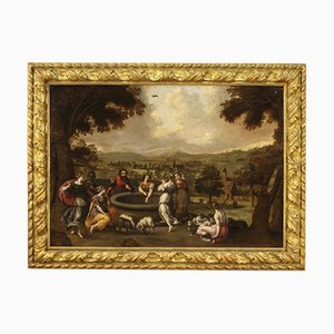 Antique Flemish Biblical Scene Painting, 17th Century