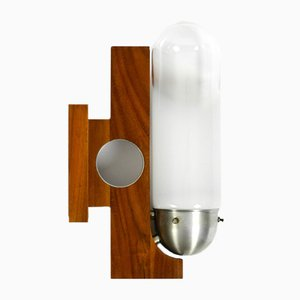 Mid-Century Modern Italian Wood Wall Lamp with Art Deco Glass Shade