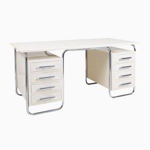 White and Chrome Bauhaus Writing Desk by Thonet, 1930s