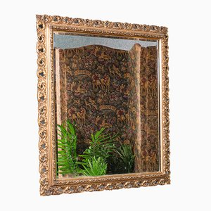 Antique English Victorian Bevelled Overmantle Hall Mirror in Gilt Gesso, 1900