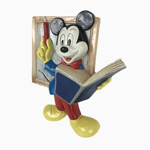 Vintage Disney Majolica Wall Decoration of Mickey Mouse Teacher, Italy, 1986