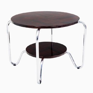 Bauhaus Side Table in Chrome and Macassar from Kovona, 1950s