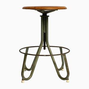 Mid-Century Italian Industrial Rotatable Metal Stool with Plywood Seat