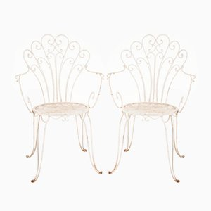 White Iron Garden Chairs, 1960s, Set of 2